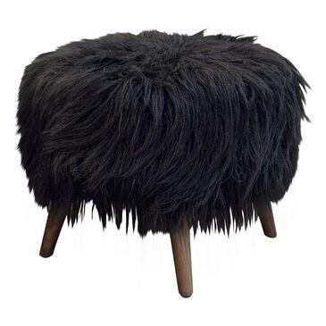 Moda Pluma Round Accent Footstool in Llama Fur Black, , large