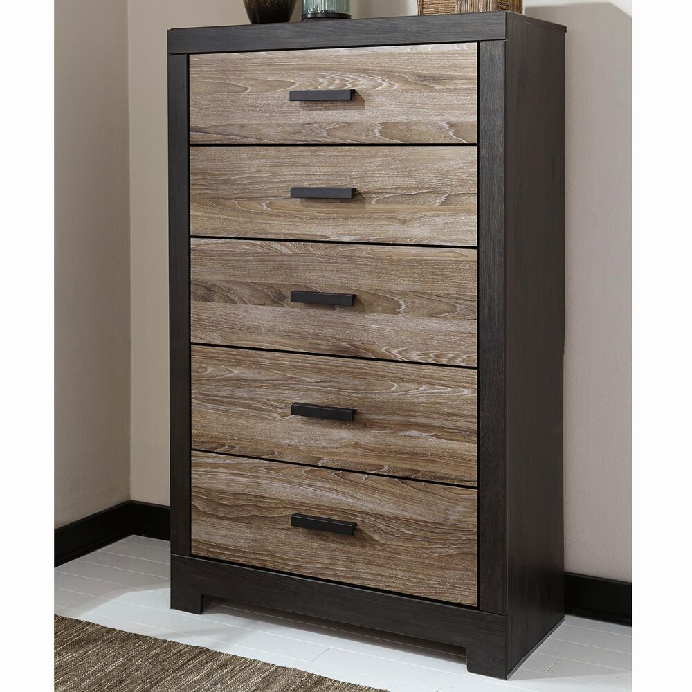 Signature Design by Ashley Harlinton 5-Drawer Chest in Warm Gray and Charcoal, , large