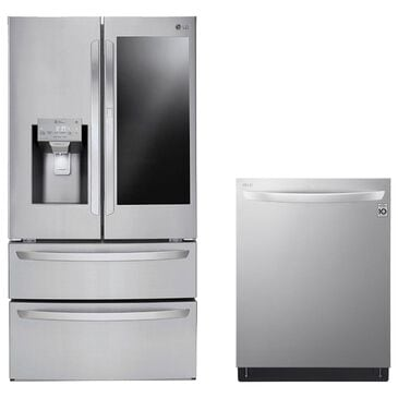 LG 28 Cu. Ft. French Door Refrigerator and Top Control Dishwasher with 42 dB in Stainless Steel, , large
