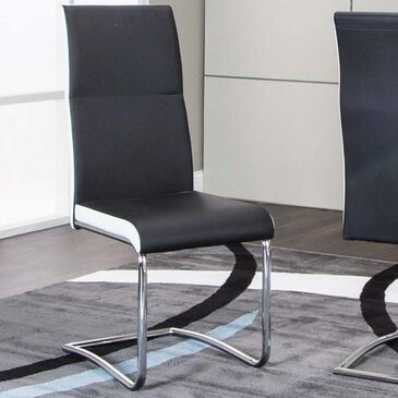 Penny Lane Skyline Side Chair with Chrome Base in Black and White, , large