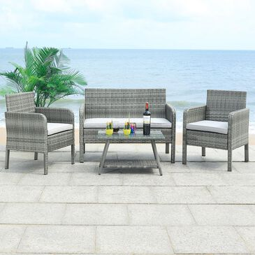 Safavieh Aboka 4-Piece Outdoor Living Set in Grey/Grey, , large