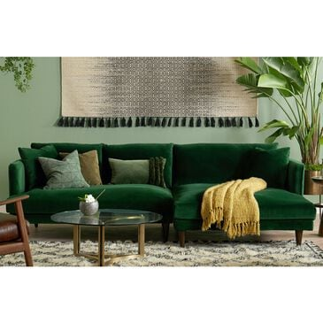 Joybird Lewis Sectional in Royale Evergreen Velvet and Mocha, , large