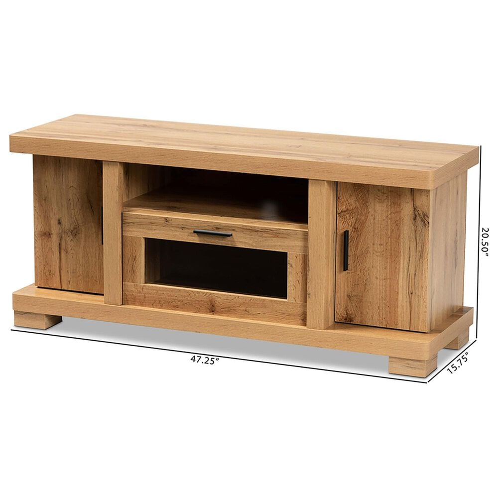 """Baxton Studio Viveka 47.25"""" TV Stand in Oak Brown and Black, , large"""