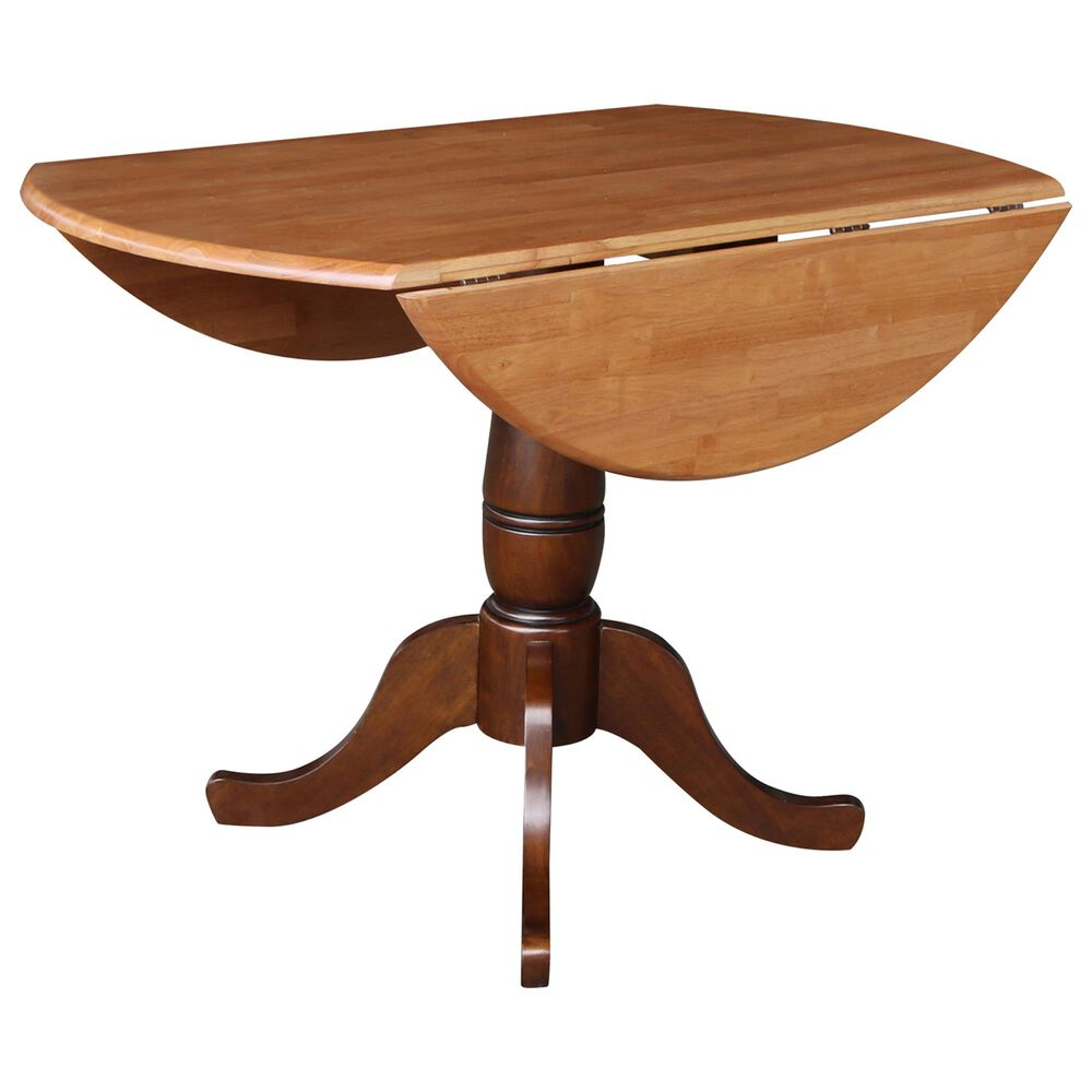 """International Concepts 42"""" Modern Farmhouse Drop Leaf Dining Table in Cinnamon/Espresso/Dark Wood  - Table Only , , large"""
