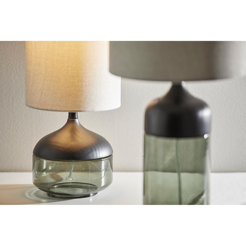 Adesso Marina Tall Table Lamp in Black and Smoked Glass, , large