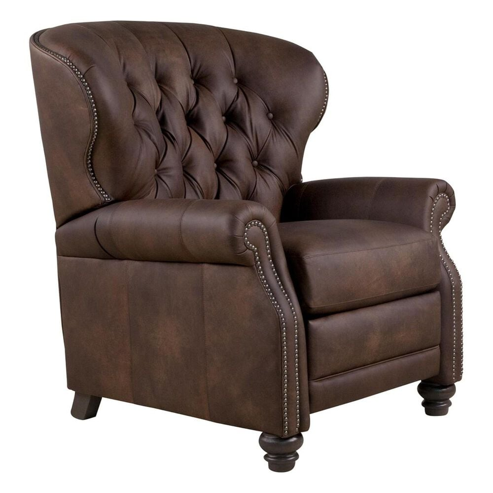 Smith Brothers Push Back Leather Recliner in Distressed Brown, , large