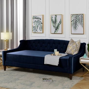 Jennifer Taylor Home Lucy Upholstered Button Tufted Sofa Bed in Dark Navy Blue, , large