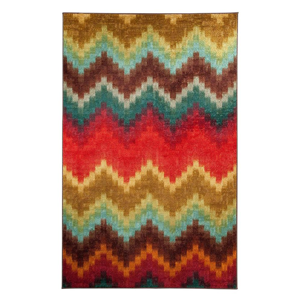 Mohawk Strata Painted Zig Zag 5' x 8' Multi Area Rug, , large