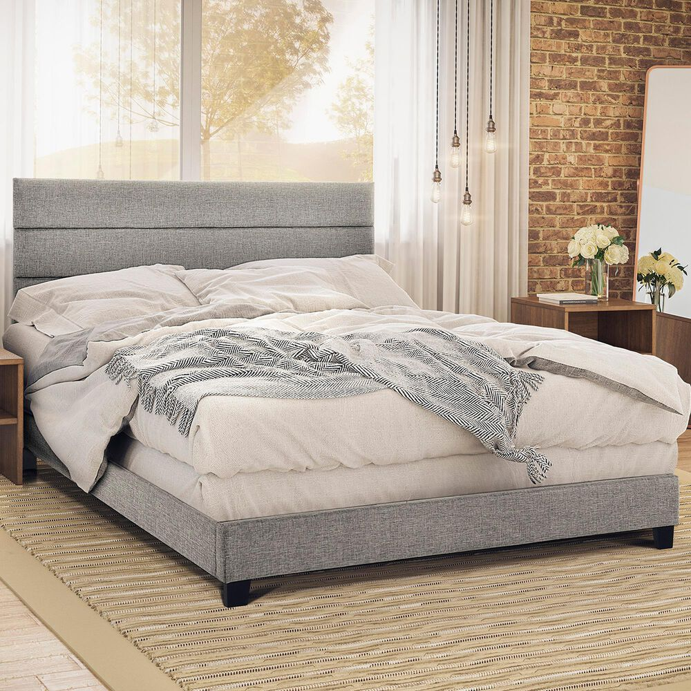 Accentric Approach King Panel Bed in Gray, , large