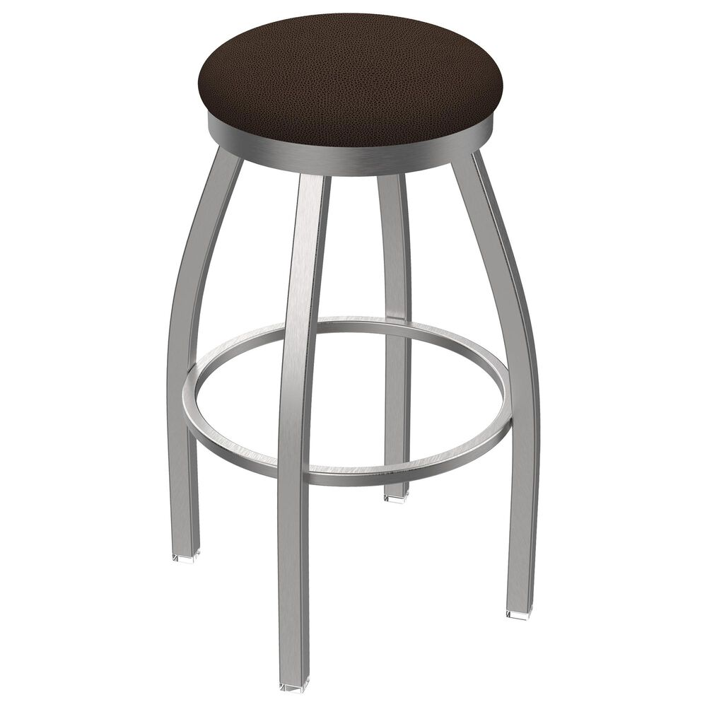 """Holland Bar Stool 802 Misha 25"""" Swivel Counter Stool with Stainless and Rein Coffee Seat, , large"""