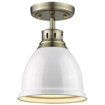 Golden Lighting Duncan Flush Mount in Aged Brass with a White Shade, , large