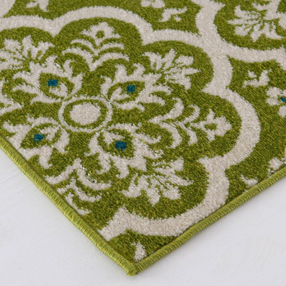 """Central Oriental Terrace Tropic Contoy 2301FN.084 7'10"""" x 9'10"""" Green and Snow Area Rug, , large"""
