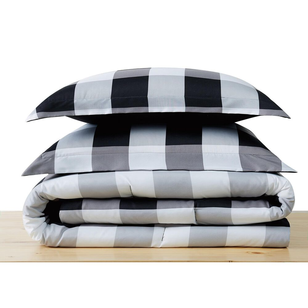 Pem America Truly Soft Everyday 2-Piece Twin XL Comforter Set in Black and White, , large