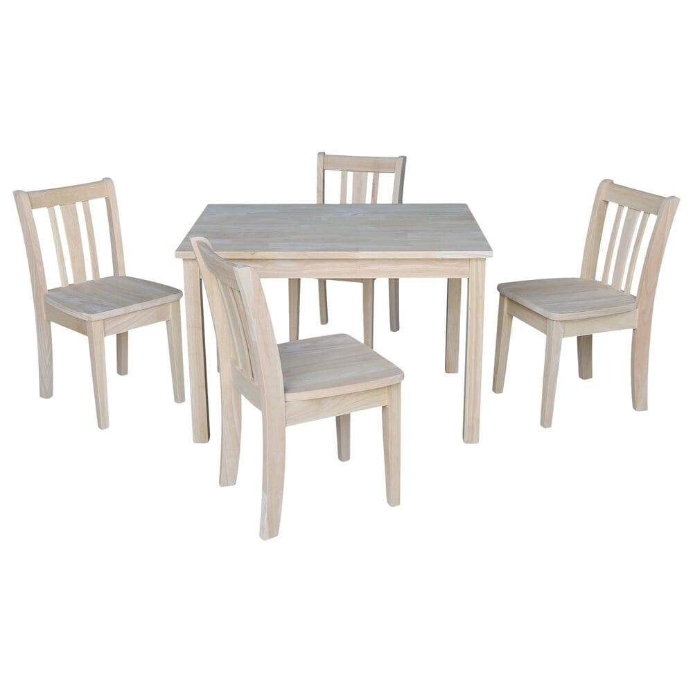 International Concepts San Remo 5 Piece Juvenile Table Set in Unfinished, , large