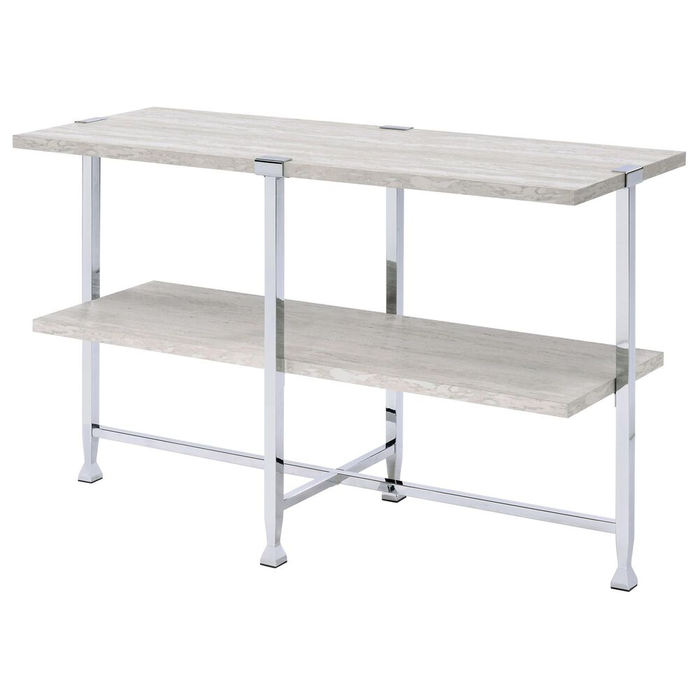Gunnison Co. Brecon Sofa Table in White Oak/Chrome, , large