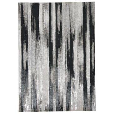 Feizy Rugs Micah 3338F 5' x 8' Black and Silver Area Rug, , large