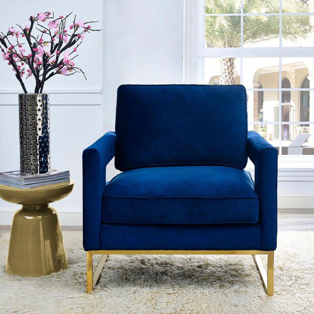 Tov Furniture Avery Velvet Chair in Navy , , large