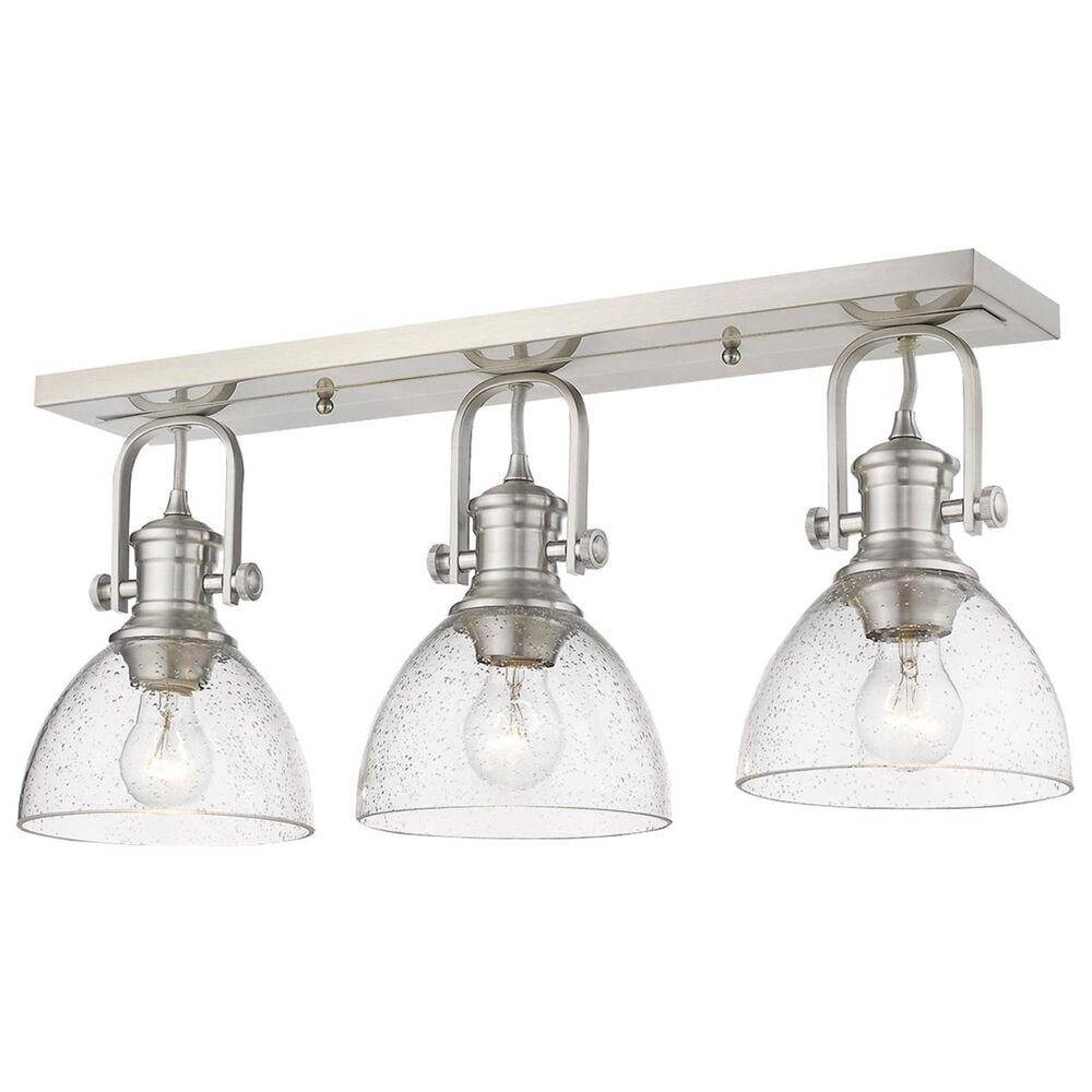 Golden Lighting Hines 3-Light Semi-Flush in Pewter with Seeded Glass, , large