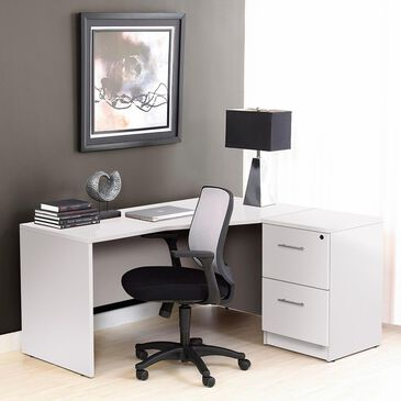 Unique Furniture 100 Collection Right Crescent Desk in White, , large