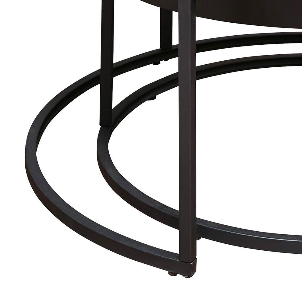 Signature Design by Ashley Windron Nesting Cocktail Table in Black and White Marble (Set of 2), , large
