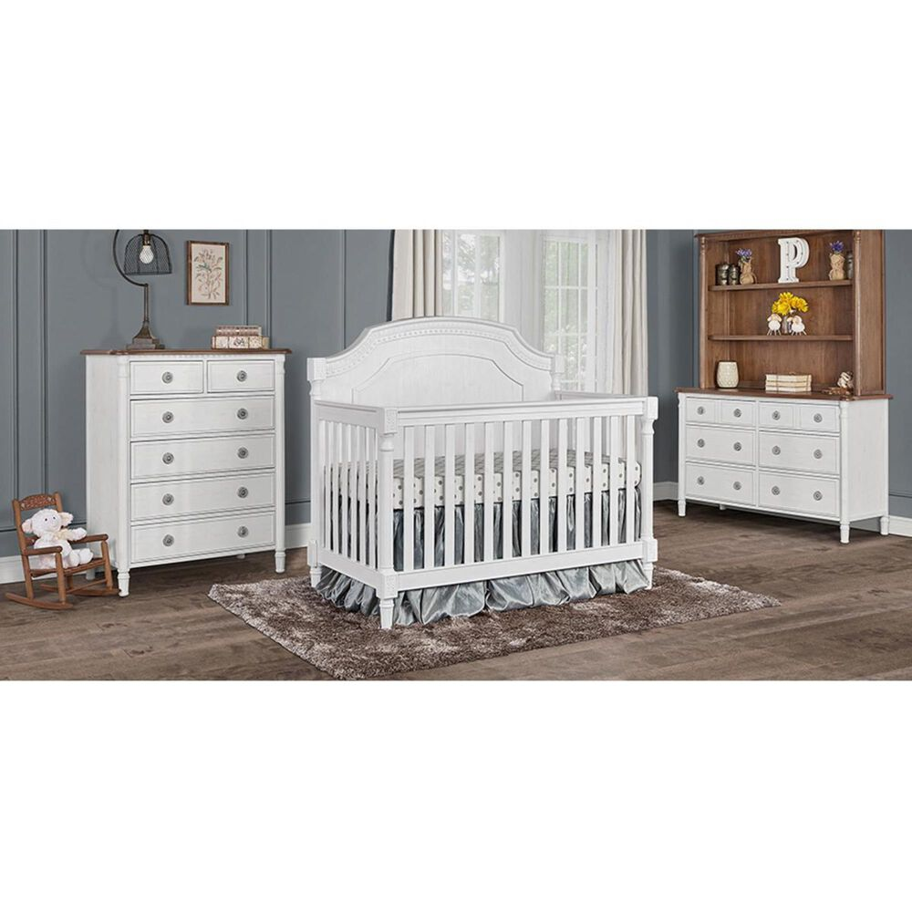 Evolur Julienne 2 Piece Nursery Set in Brush White and Toffee, , large