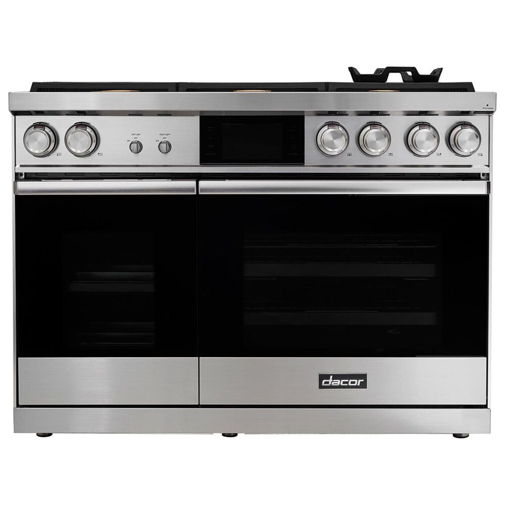 """Dacor Modernist 48"""" Dual Fuel Steam Liquid Propane/High Altitude Range in Silver Stainless Steel, , large"""