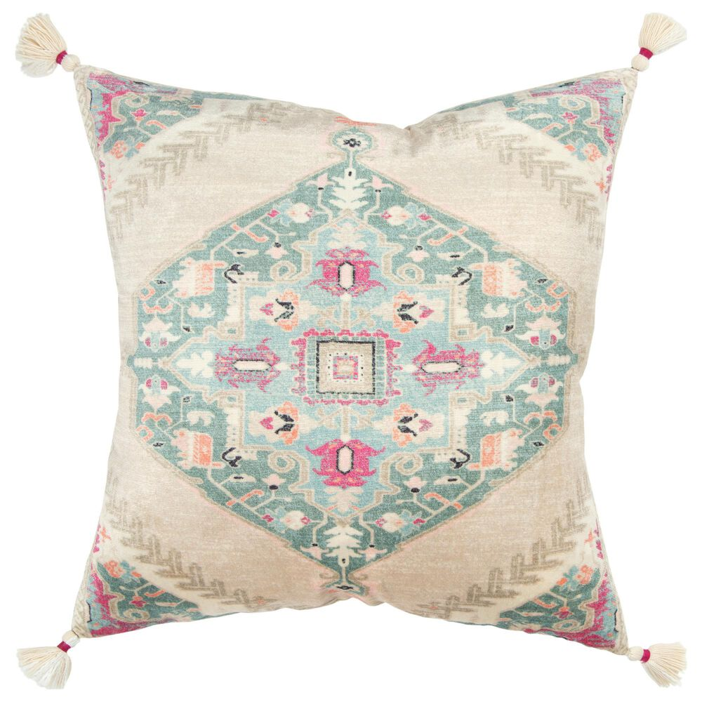 """Rizzy Home Medallion 20"""" Down Filled Pillow in Natural and Multicolor, , large"""