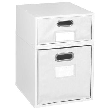 Regency Global Sourcing Niche Cubo 2-Piece Storage Set with Half Drawers in White Wood Grain/White, , large