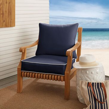 """Sorra Home Sunbrella 25"""" Deep Seating Cushion in Canvas Navy with White Accents, , large"""