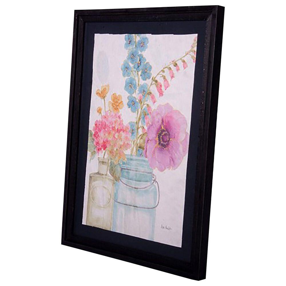 VIP Home and Garden American Mercantile Framed Floral Art in Black Wood Frame, , large