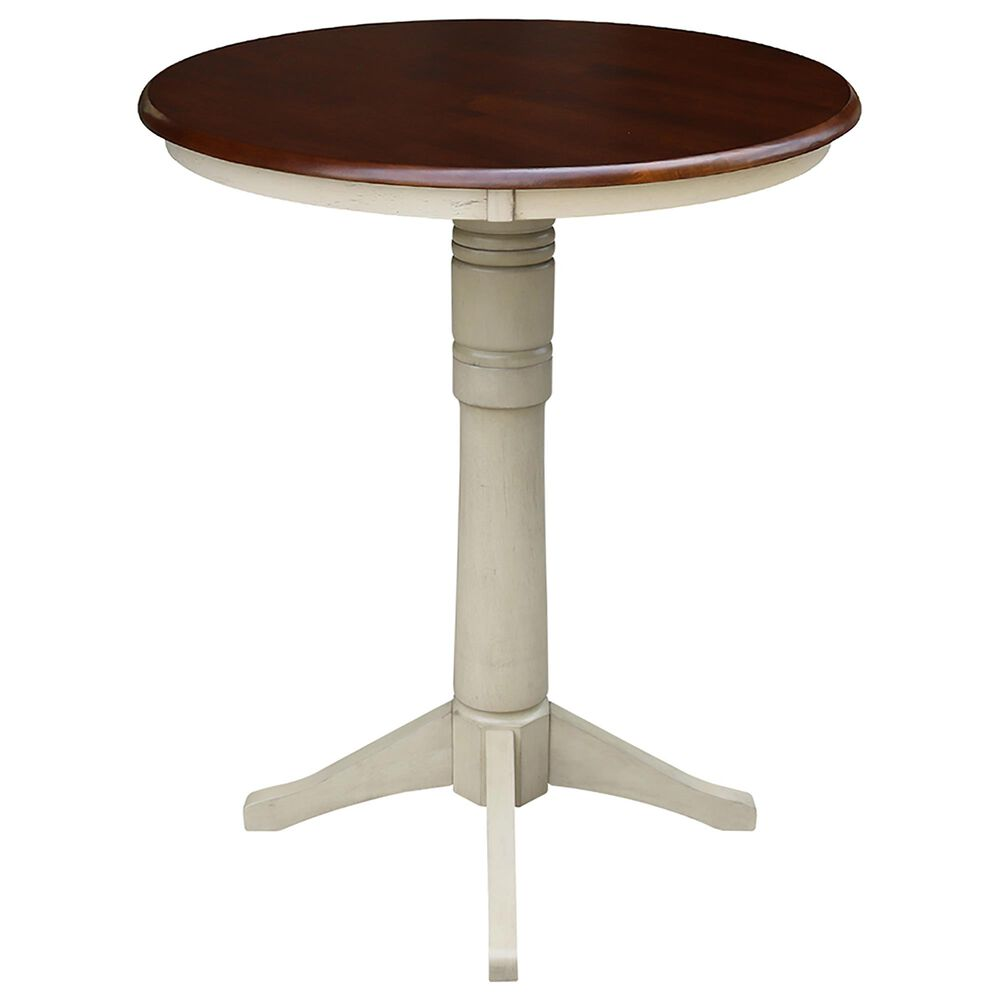 """International Concepts 30"""" Pedestal Table in Almond/Espresso, , large"""