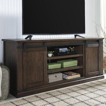 Signature Design by Ashley Budmore Extra Large TV Stand in Rustic Brown, , large