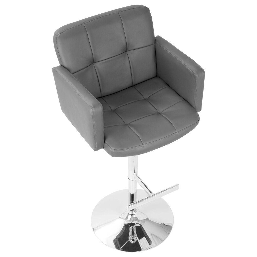 Lumisource Stout Adjustable Swivel Barstool in Grey/Chrome, , large