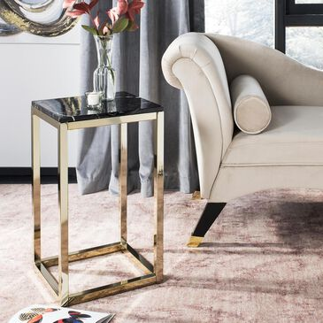 Safavieh Leah Square Side Table in Black Marble/Brass, , large