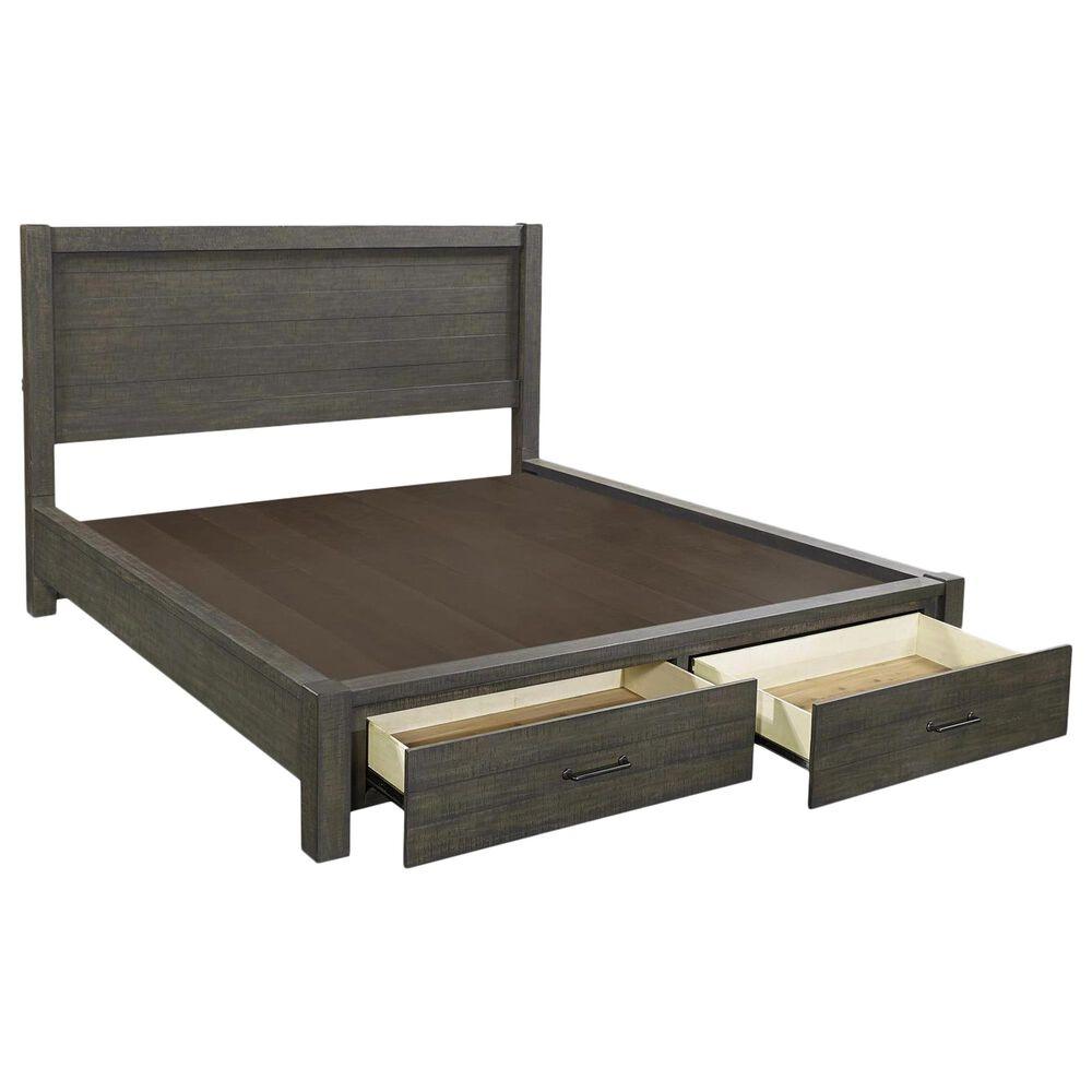 Riva Ridge Mill Creek 4 Piece King Storage Bed Set with 2-Drawer Nightstand in Carob, , large
