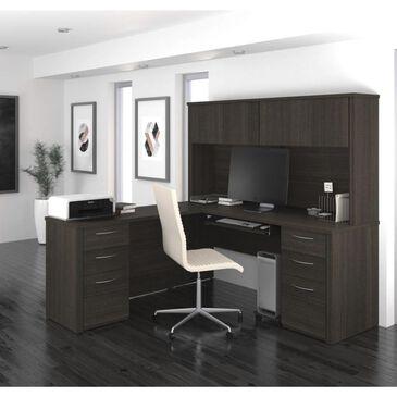 "Bestar Embassy 71"" L-shaped desk in Dark Chocolate, , large"