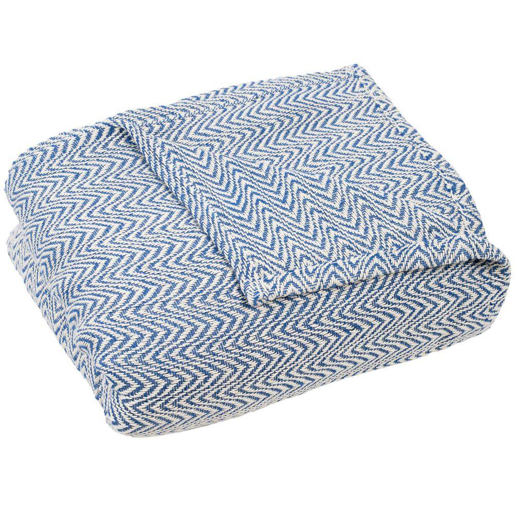 Timberlake Lavish Home Full/Queen Chevron Blanket in Blue, , large
