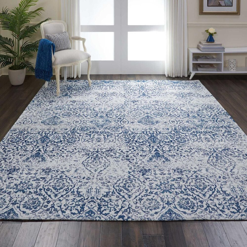 Nourison Damask 9' x 12' Ivory and Navy Area Rug, , large
