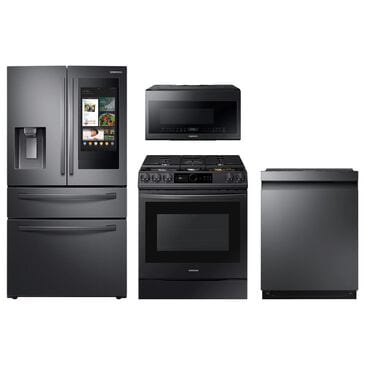 Samsung 4-Piece Kitchen Package with 22 Cu. Ft. 4-Door French Door and Pocket Handle Dishwasher in Black Stainless Steel, , large