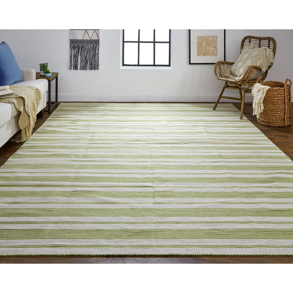 Feizy Rugs Duprine 4' x 6' Green and Ivory Area Rug, , large