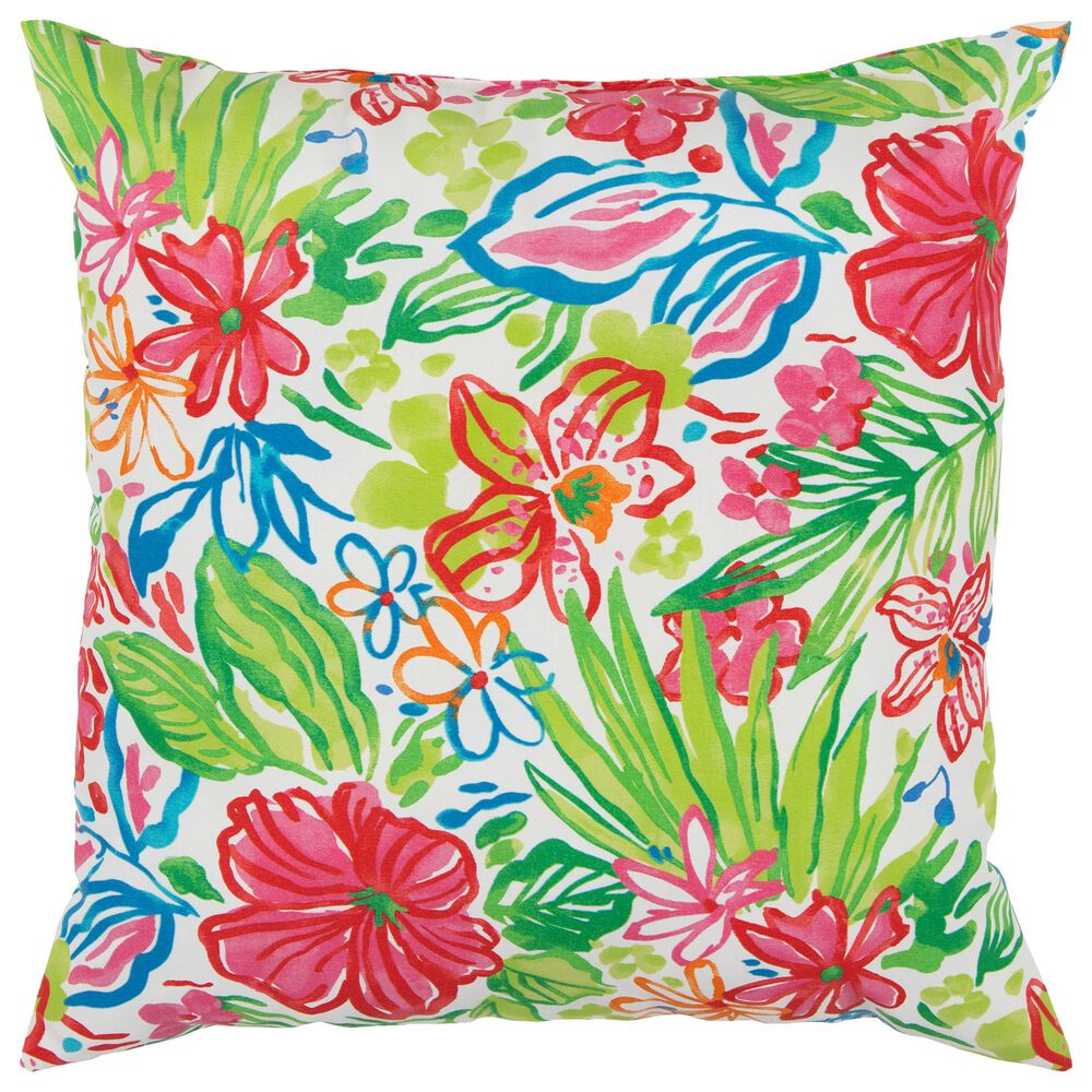 """Rizzy Home Tropical 22"""" Indoor/ Outdoor Pillow in Hot Pink, , large"""