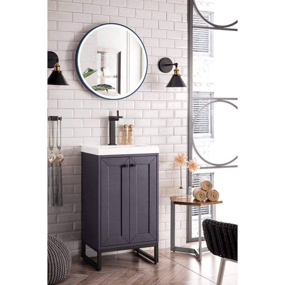 """James Martin Chianti 20"""" Single Bathroom Vanity in Mineral Grey and Matte Black with White Glossy Solid Surface Resin Top, , large"""
