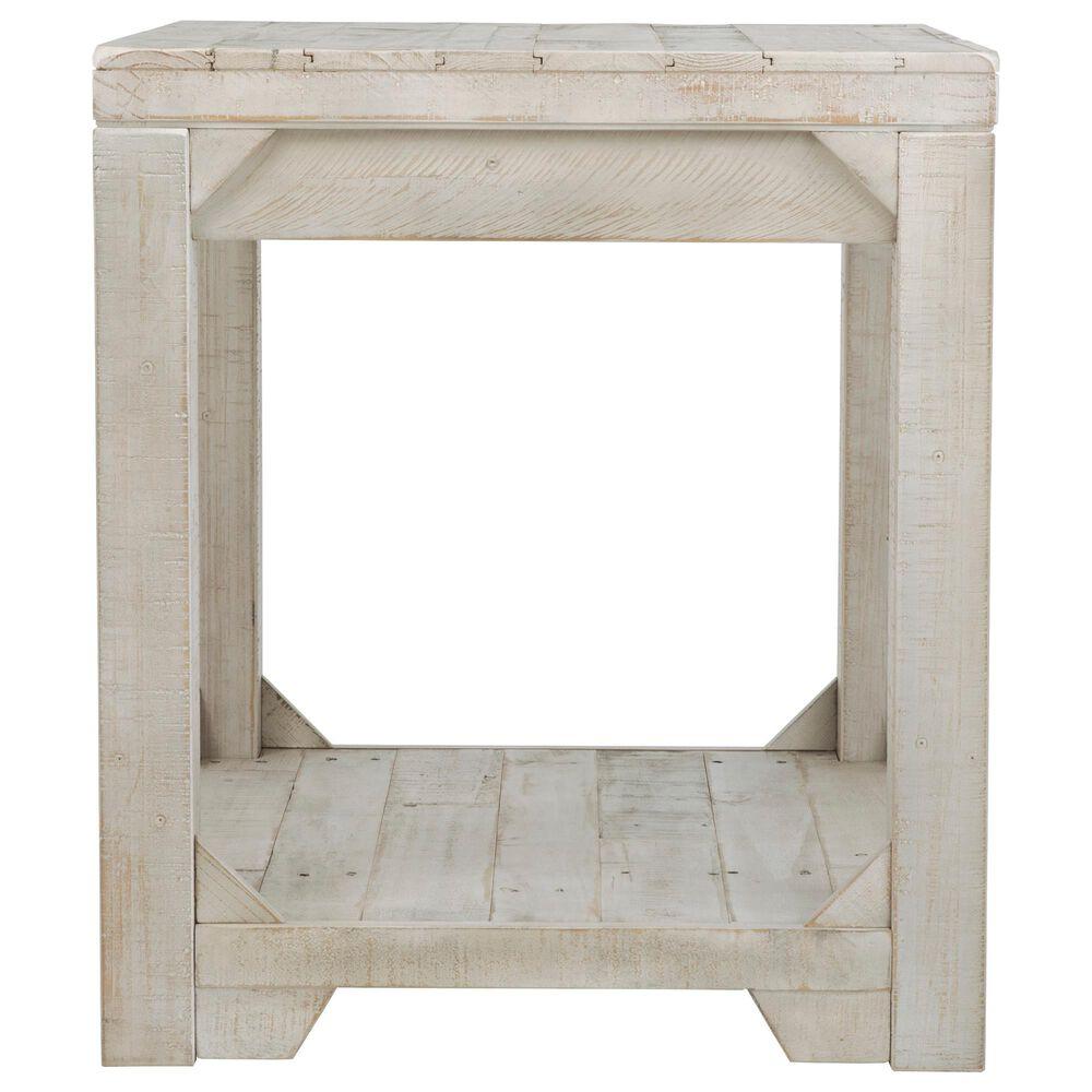 Signature Design by Ashley Fregine Rectangular End Table in Whitewash, , large