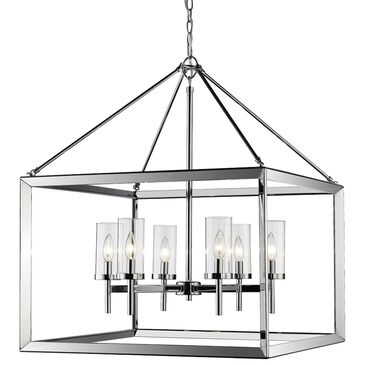 Golden Lighting Smyth 6-Light Chandelier in Chrome with Clear Glass, , large