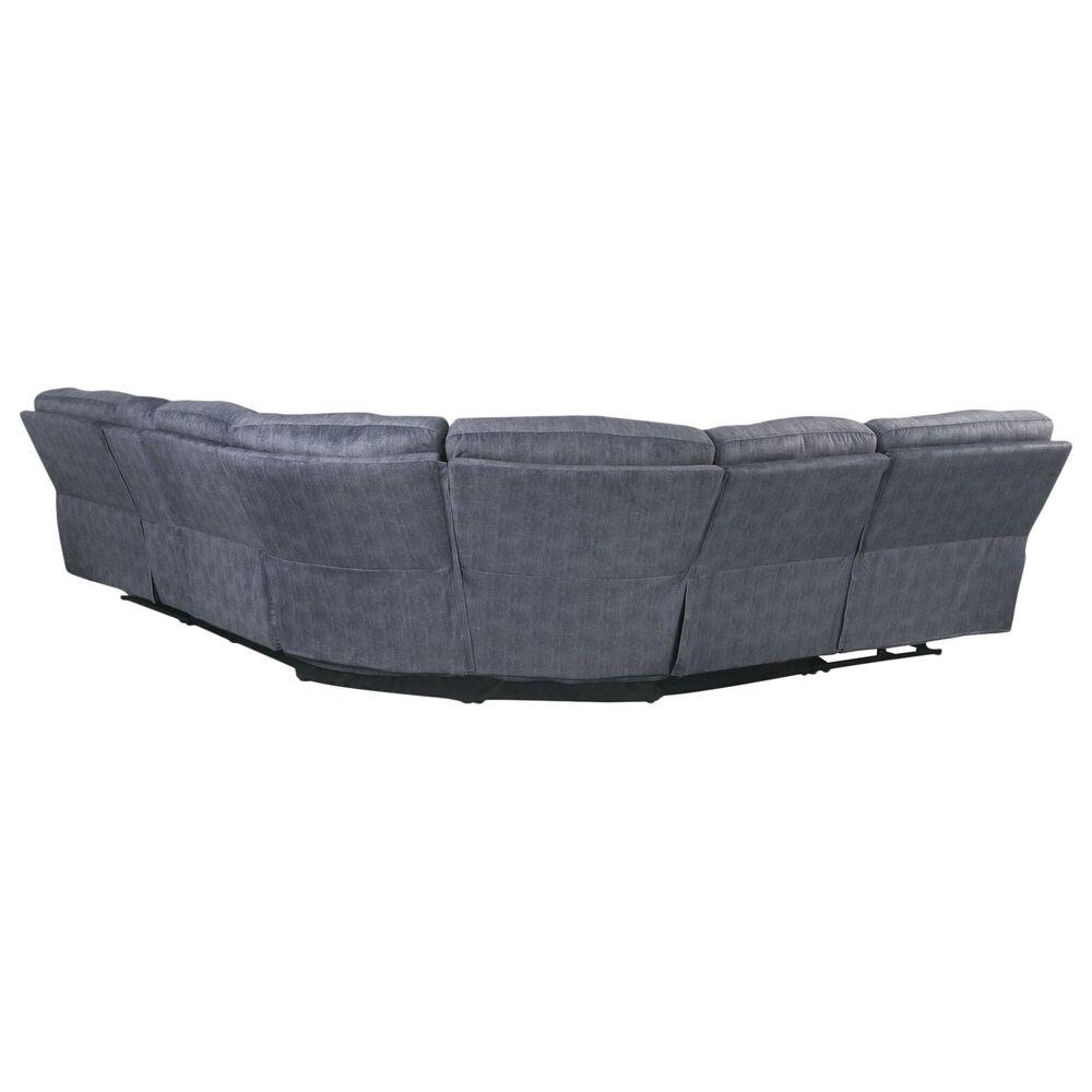Gunnison Co. Saul Power Motion Sectional Sofa in Slate Blue Velvet, , large