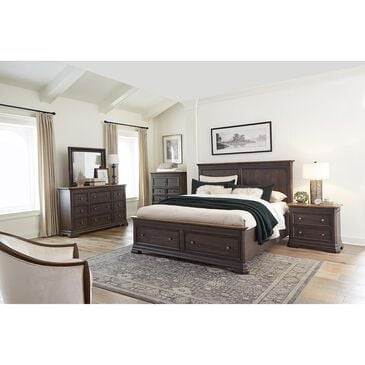 Napa Furniture Design Grand Louie 4 Piece Queen Storage Bedroom Set in Ebony and Wheat, , large