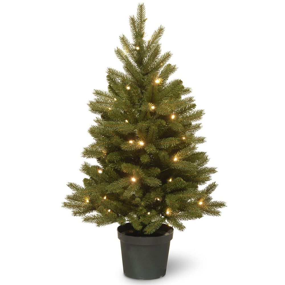 """National Tree 4"""" Feel Real Jersey Fraser Fir Entrance Tree with 35 Warm White Lights, , large"""