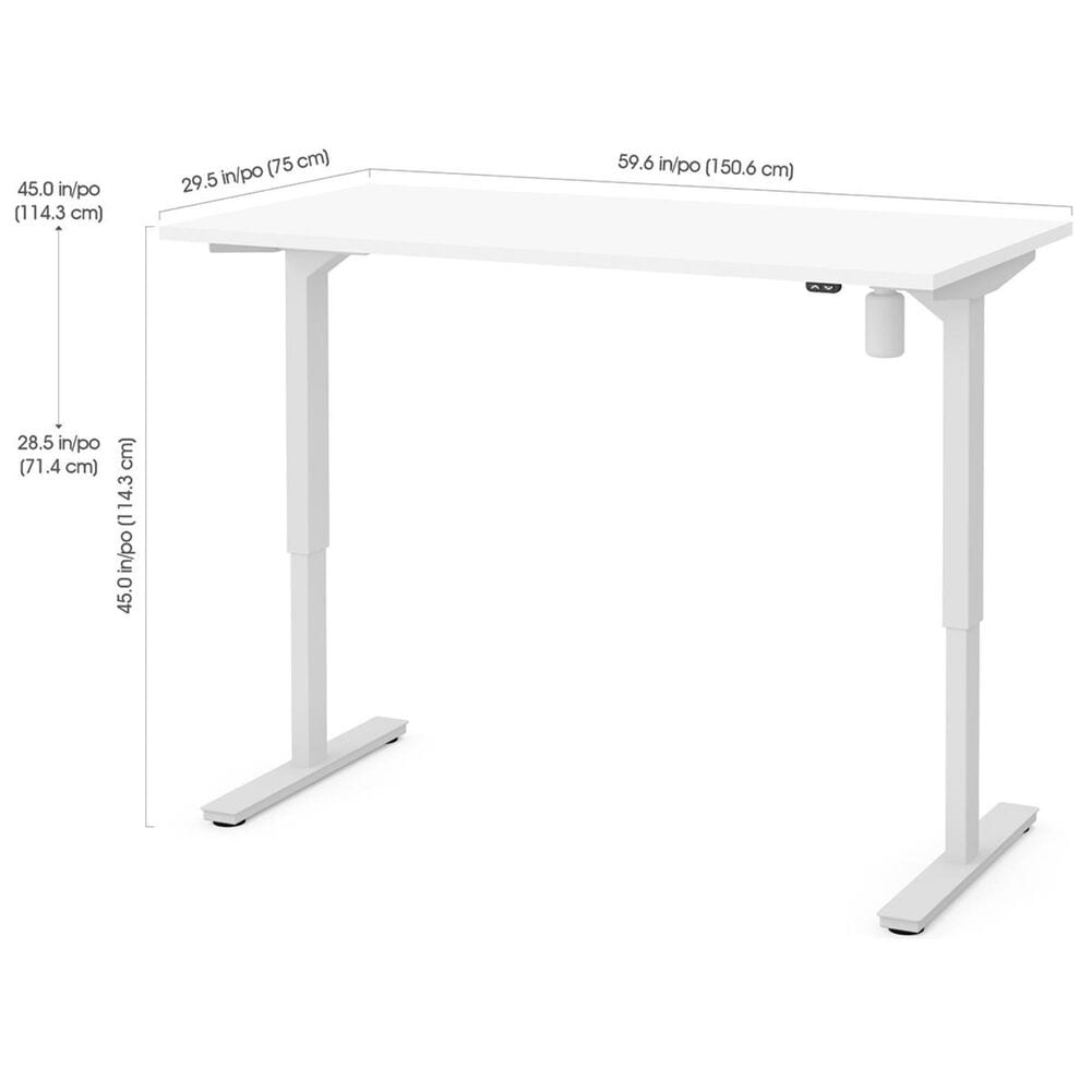 """Bestar 60"""" Height Adjustable Table in White, , large"""