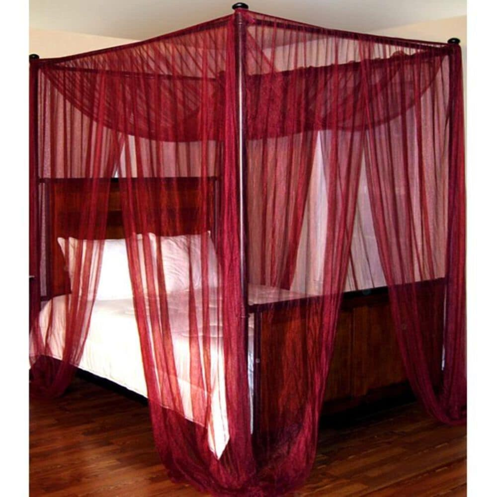 Epoch Hometex Palace Four Poster Bed Canopy in Burgundy, , large