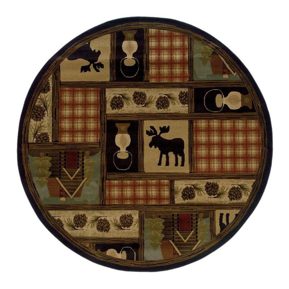 """Oriental Weavers Hudson 1067A 7""""8"""" Round Brown Area Rug, , large"""